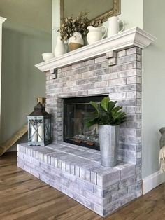 Incredible diy brick fireplace makeover ideas 20