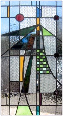 Nice abstract design...  love the color combinations too!  By Seattle Stained Glass, Inc