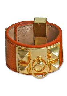 Pyramid PU Bracelet - Orange - Gold Metal Panel Bracelet