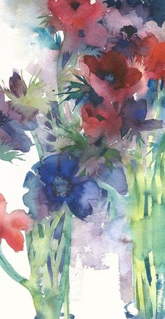 Print of watercolour painting by Kate Osborne featuring anemones Watercolor Paintings Abstract, Watercolor Artists, Watercolor Flowers, Floral Paintings, Anemone Du Japon, Kate Osborne, Alcohol Ink Painting, Paintings For Sale, Flower Art