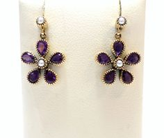 Jewellery 9ct Yellow Gold Amethyst and Cultured Freshwater Seed Pearl Drop Stud Flower Daisy Earrings £195.00 Contact us at www.facebook.com/ellisondavisjewellery for more information