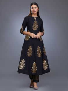 Black Chanderi Block Printed Suit - Set of 3 Kurta Designs Women, Blouse Designs, Indian Dresses, Indian Outfits, Ethnic Outfits, Dresses Uk, Couture Dresses, Printed Kurti Designs, Black Kurti