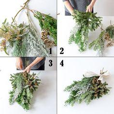 DIY初心者さんにおすすめなドア飾り「スワッグ」。スワッグとは、伝統的なクリスマス飾りのひとつです。ここ数年、日本でも人気になっていますよね。ドイツ語で「壁飾り」という意味を持つスワッグは、材料を束ねて吊るすだけというとってもシンプルで簡単なドア飾りです。 Christmas Lamp, Christmas Swags, Xmas Wreaths, Christmas Crafts, Christmas Flower Arrangements, Dried Flower Arrangements, Dried Flowers, Yule Decorations, Christmas Decorations