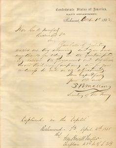 Letter by Secretary of The Confederate Navy Stephen R. Mallory 1862