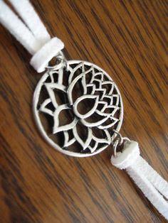 Lotus flower bracelet  silver plated lotus flower by ShadedLines, $9.00