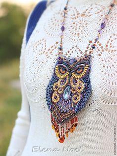 Beautiful beaded owl necklace