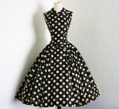1950's Suzy Perette new york creme polka dot black silk full skirt cocktail dress