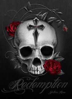 Gothic Rose Skull and Roses Evil Skull Tattoo, Skull Tattoo Flowers, Skull Rose Tattoos, Skull Girl Tattoo, Skull Tattoo Design, Art Tattoos, Dark Fantasy Art, Sugar Skull Artwork, Sugar Skull Wallpaper