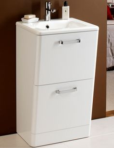 Bathroom Cabinets 55cm marcella 55cm white vanity unit with basin - drawer closed