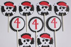 Pirate Cupcake Toppers by RockPaperScissorsCPG on Etsy