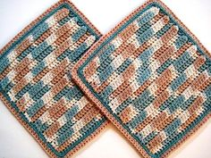 Soft Natural Dish Cloths Hand Crocheted Green by CozyKitchenKnits, $7.50