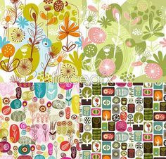 Lovely flowers and plants cute cartoon backgrounds vector
