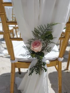 A single pink rose and fern stands out beautifully on our chairs. Destination Wedding Planner, Wedding Planning, Wedding Chairs, Can Design, Fern, Unique Weddings, Bridal Shower, Table Decorations, Rose