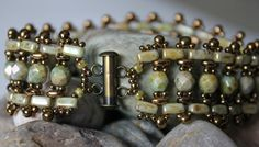 Stunning SuperDuo Brick Bead Bracelet by ReggiesCreations on Etsy