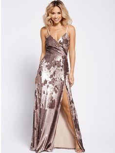 SHOP Myleene Klass Wrap Sequin Maxi Dress Floor to ceiling sequins, what else is there to say? Sparkly Bridesmaid Dress, Winter Bridesmaid Dresses, Winter Dresses, Dress Winter, Sexy Legs And Heels, Gold Dress, Sequin Maxi, Dress Skirt, Nice Dresses