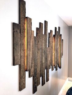 iluminacion iluminacion wandgestaltung ideen - The world's most private search engine Wall Design, House Design, Diy Design, Into The Woods, Diy Wood Projects, Pallet Furniture, Bedroom Furniture, Bedroom Decor, Wood Wall Art
