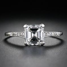 Beautiful Edwardian diamond engagament ring with a 1.05 ct square emerald-cut stone.
