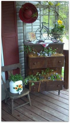 Re-using old furniture in the garden in a whole new way!