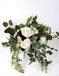 9cc84d9cc33ce White Bridal Bouquet, Greenery Bride Bouquet, Silk Flower Bridal Bouquet, White  Rose Bouquet