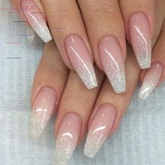 French Fade With Nude And White Ombre Acrylic Nails Coffin Nails French Omb. - French Fade With Nude And White Ombre Acrylic Nails Coffin Nails French Ombre Nails mit Goldgl - Cute Acrylic Nails, Cute Nails, My Nails, Acrylic Nails Coffin Ombre, White Acrylic Nails With Glitter, Classy Nails, Pink Coffin, White Nail, White Glitter