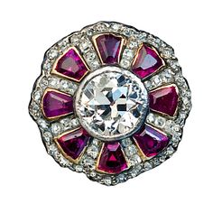 Antique Russian Ruby Diamond Ring | From a unique collection of vintage cluster rings at http://www.1stdibs.com/jewelry/rings/cluster-rings/