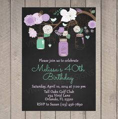 Adult Birthday Invitation, Invite, Purple, Teal 18th, 21st, 30th, 40th, 50th, 60th, 65th, 70th, 80th Vintage Style, Rustic Mason Jars 6033