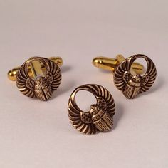 Men's Brass Scarab Cufflinks Tie Tack, New Pair of Handcrafted Metal Egyptian Beetle Stamping Cuff Links Matching Set in Box Guys Gift on Etsy, $31.99