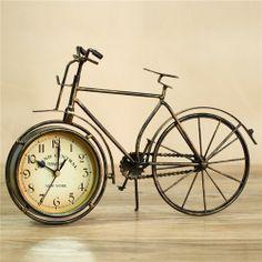 Vintage Retro Classic Bronze Bicycle Table Clock - Blue Products- - TopBuy.com.au