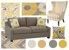 Looking back on the year a few key Cottage decorating trends come to mind, including industrial lighting, whitewashed furniture and more. Decor, Living Room Color Schemes, Living Room Decor Colors, Couch Decor, Trending Decor, Living Room Grey, Yellow Living Room, Room Decor, Grey And Yellow Living Room