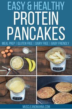 clean banana oat protein pancakes are incredibly easy to make! A tastier variation of the 3 ingredient banana, egg, and oat pancakes they make a healthy breakfast for kids or adults! These pancakes are even perfect for baby led weaning. Healthy Protein Pancakes, Protein Powder Pancakes, Banana Oat Pancakes, Banana Oats, Protein Foods, High Protein, Protein Muffins, Oatmeal Protein Pancakes, Protein Dinners
