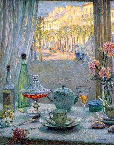 Henri Le Sidaner (French, 1862 - 1939) «Table near the Window, Reflections» 1922..jpg