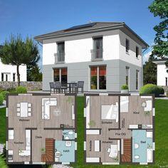 """Unsere #Stadtvilla """"Flair 124"""" gibt es auch mit offener Küche, Ankleide und Arbeitsecke. Wie findet Ihr diese Grundrissgestaltung? #massishaus  Mehr Infos zum Haus: http://www.hausausstellung.de/flair-124-grundriss-obergeschoss.html"""