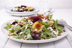 Grilled Nectarines with Beetroot & Blue Cheese