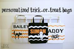 DIY personalized trick or treat bags tutorial at http://diyshowoff.com