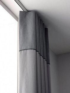 Ripplefold Draperies on a ceiling mounted zip rod with contrast heading Ripplefold Draperies on a ce Wave Curtains, Ceiling Curtains, Drapery Panels, Curtains With Blinds, Ceiling Mounted Curtain Track, Mini Blinds, Wood Blinds, Curtain Styles, Curtain Designs