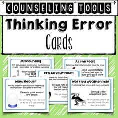 Thinking Errors Cards: Counseling Tools to Help Kids Change Negative ThoughtsCognitive Distortions, Thought Errors, Thinking Errors are often made by students before they engage in negative behaviors. In counseling sessions using cognitive behavioral strategies, students need to begin to identify what kinds of errors they make when thinking about situation that lead to negative behavior.