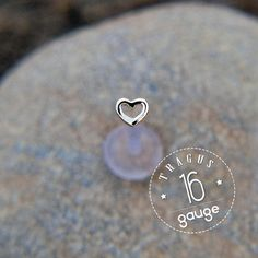 Tiny HEART 4mm TRAGUS 16 gauge / BioFlex/ Sterling silver/ tragus earring/labret stud/ heart tragus/ cartilage earring/ from StudsEarrings on Etsy.