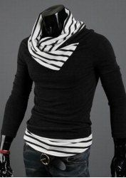 $10.30 Casual Special High Collar Pullover Stripe Long Sleeve Cotton Blend Sweater For Men