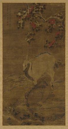A stag, a doe, and red camellias in snow | Zhou Yuan (mid to late 14th century) | Ink and color on silk | Yuan or Ming dynasty | 1367 | Gift of Charles Lang Freer | Freer Gallery of Art and Arthur M. Sackler Gallery | F1911.282