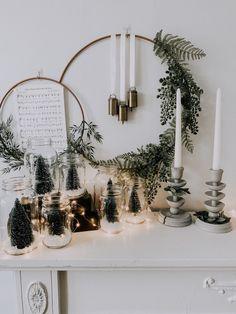 Mason jar Christmas trees and fairy lights Christmas Mood, Merry Little Christmas, All Things Christmas, Christmas Crafts, Christmas Decorations, Seasonal Decor, Holiday Decor, Christmas Aesthetic, Merry And Bright
