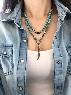 Excited to share the latest addition to my shop: Boho style layered necklace - Turquoise color wood beads, wagnerite chips and faux suede cord (cord size adjustable) Diy Jewelry Necklace, Leather Necklace, Leather Jewelry, Necklace Designs, Handmade Necklaces, Boho Jewelry, Necklace Ideas, Bohemian Necklace, Western Jewelry