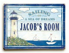 """Kids Sailing Lighthouse (Personalized) 25""""x34"""" Planked Wood Sign Wall Decor Art by ArteHouse, http://www.amazon.com/dp/B00CM2B0FS/ref=cm_sw_r_pi_dp_wd-Jsb1GS3WY6"""