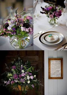 Unstructured purple centers. Rustic Wedding Chic