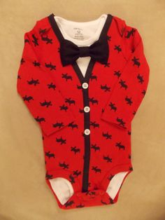 Red with Moose Baby Boy Cardigan Onesie with 2 by LinzyDawnDesigns, $30.00