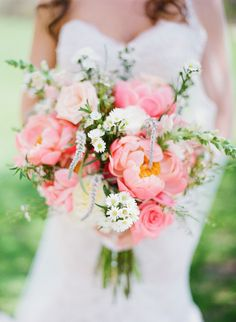 Pink peony bouquet | Read More: http://www.stylemepretty.com/little-black-book-blog/2014/08/27/pink-peony-wedding-at-the-rockleigh/ | Photography: Kay English - www.kayenglishphotography.com