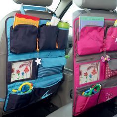 back seat storage - kids Sewing Crafts, Sewing Projects, Car Seat Organizer, Car Organizers, Hanging Organizer, Car Seat Protector, Blog Couture, Car Storage, Diy Car