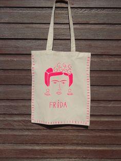 Hand illustrated Frida cotton tote bag by MarillaWalker on Etsy