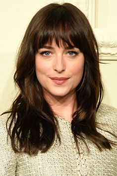 Attractive fringe hairstyles a classic, full fringe with a choppy finish looks great on dakota johnson. Full Fringe Hairstyles, Fringe Haircut, Sleek Hairstyles, Hairstyles With Bangs, Hairstyle Ideas, Bangs Wavy Hair, Long Hair With Bangs, Long Hair Cuts, Medium Hair Styles