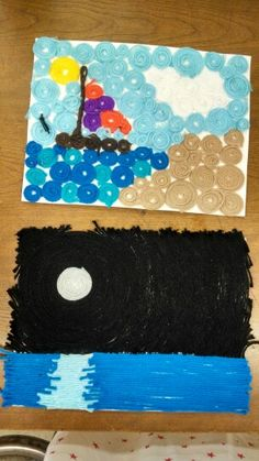 Creating yarn pictures with mod podge and yarn strips on cardstock
