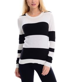 Loving this Maglia White & Black Stripe Scoop Neck Sweater on #zulily! #zulilyfinds
